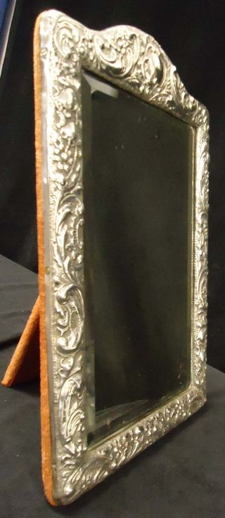 Sterling Silver Art Nouveau / Deco English Hallmarked Stamped Table Top Mirror photo