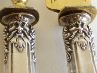 Rare Antique French Sterling Silver Carving Serving Meat Set Mascaron 2/ps photo