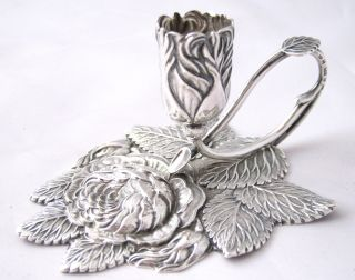 Rare & Exquisite Solid Sterling Silver Rose Chamberstick - Nathaniel Mills photo