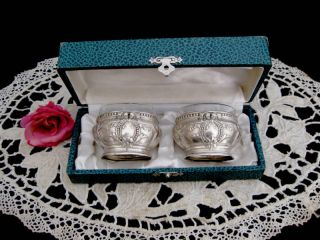 19th French Sterling Silver Salt Cellars 2pc photo