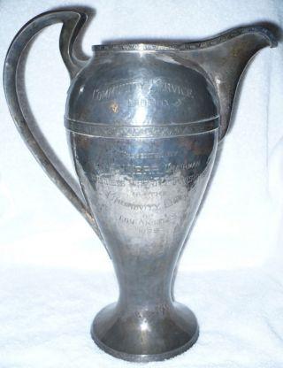 Enormous Antique 1926 Sterling Silver Trophy 60.  5 Oz photo