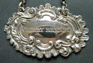 George Unite Rococo Sterling Silver Cherry Brandy Decanter Wine Label 1839 photo