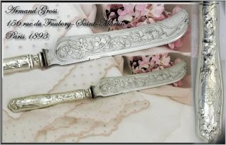 Antique Art Nouveau French Sterling Silver Bread Knife photo