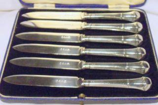 Set Hukin & Heath Hallmarked Silver Handled Tea Knives Shfld 1930 photo