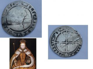 Tudor Queen Elizabeth I England,  Solid Silver Sixpence Dated 1576 photo