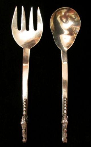 F.  Ramirez Sterling Silver Pea Pod Pattern Serving Fork And Spoon Salad Set photo