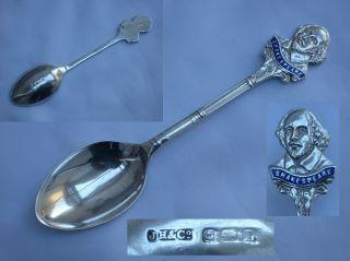 Fine English Sterling Silver/enamel Spoon William Shakespeare Final Joseph Hay photo