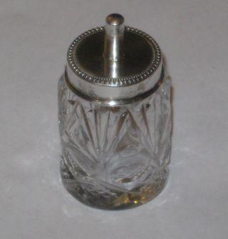 Antique/vintage Sterling Sliver Cutglass Glue Pot - Maker