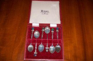 Vintage Set Of Six Sterling Silver & Opal Demitasse Spoons photo