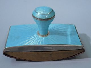 American Sterling Silver Enamel Blotter Baby Blue photo
