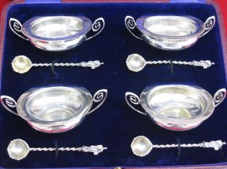Stunning Cased Set Of English Sterling Silver Biblical Master Salts & Spoons. photo