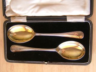 Good Quality Cased Pair Of English Sterling Silver Serving Spoons,  Sheffield photo