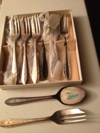 Silver - Plated Hathaway Ice Cream Spoons & Pastry Forks By Sheffield Of England photo