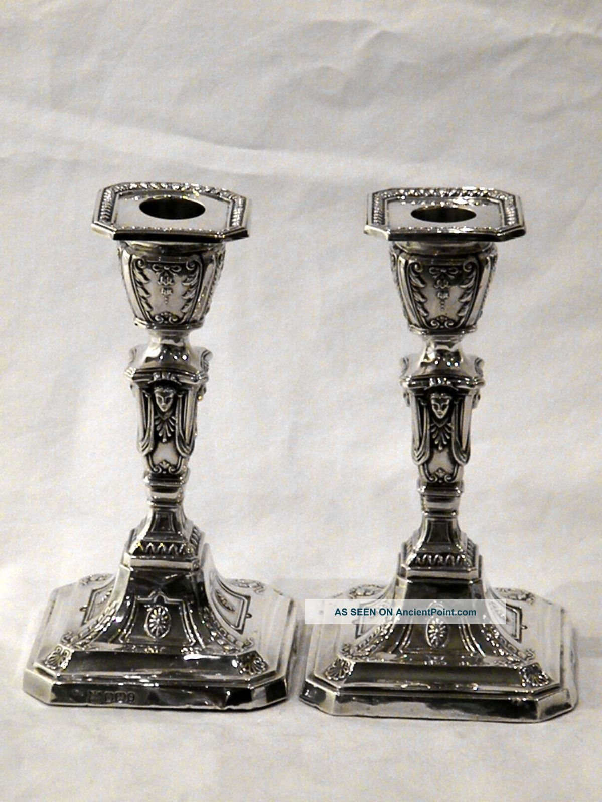 Pair Antique Victorian Silver Candlesticks Sheffield 1899 Other photo