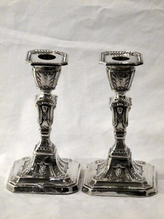 Pair Antique Victorian Silver Candlesticks Sheffield 1899 photo