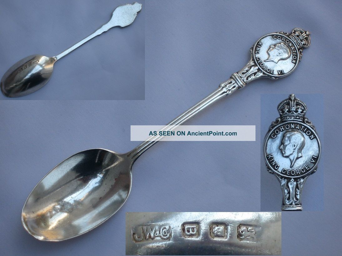 Rare Souvenir King George Vi Sterling Silver Coronation Spoon Josiah Williams Other photo
