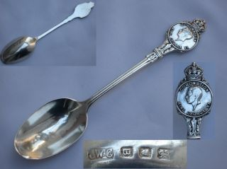 Rare Souvenir King George Vi Sterling Silver Coronation Spoon Josiah Williams photo