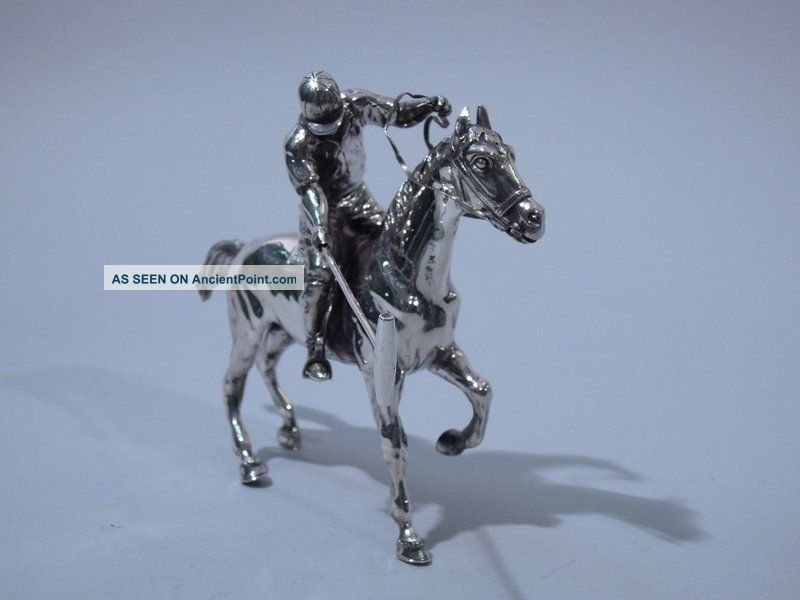 German 800 Silver Figural Polo Player On Horse Other photo