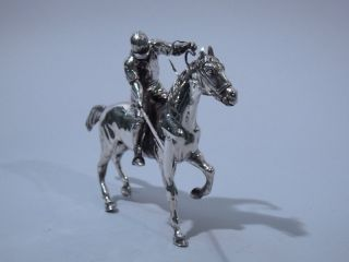 German 800 Silver Figural Polo Player On Horse photo