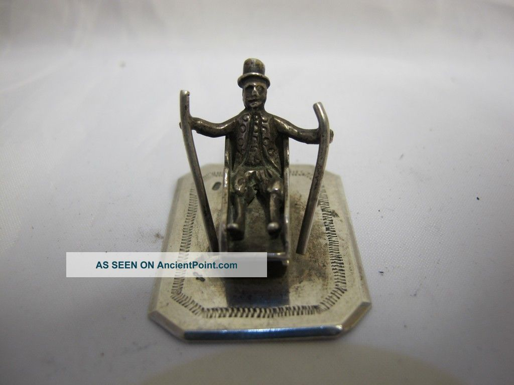 Antique Solid Silver Miniature Figure On Sled Continental C 1940 Other photo