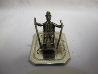 Antique Solid Silver Miniature Figure On Sled Continental C 1940 photo