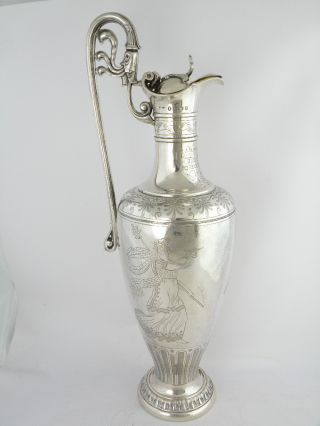 Fantastic Quality Victorian Silver Claret Ewer,  London 1858 photo