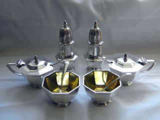 Sterling Silver 6 Piece Condiment Set London 1972 Pepper,  Salt,  Mustard photo