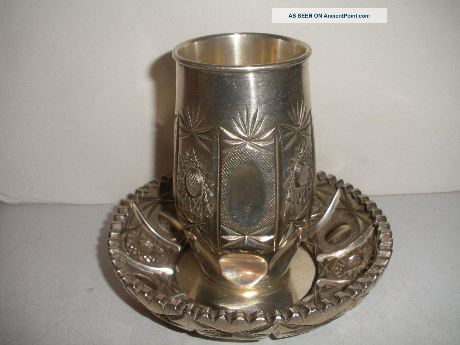 Exquisite Vintage Sharaby Judaica Israeli Jewish Fine Silver 999 Bowl And Cup Other photo