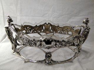 Rare German Solid Silver & Glass Art Nouveau Centre Piece Bowl C.  1900 photo