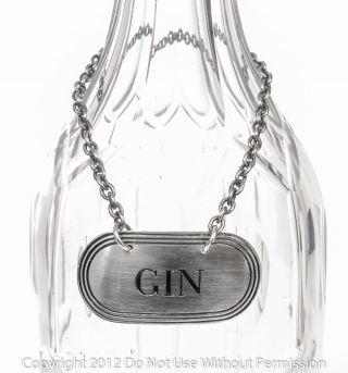 Sterling Silver Decanter Label ' Gin ' Hallmarked Birmingham 1955 Turner & Simpson photo