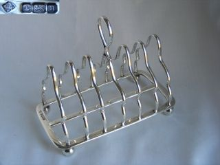 Edwardian Solid Silver 6 Slice Toast Rack – 1905 Sheffield photo