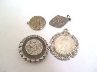 Victorian Silver Engraved Brooch And Three More Pandents 12g Weight In Total photo