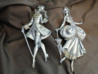 Pair Figurines 800 Italian Silver Made Circa 1950 photo