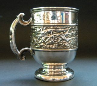 Art Nouveau Sterling Silver Christening Mug Swimming Fish Birmingahm 1902 photo