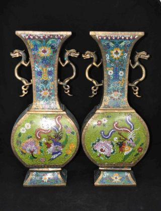 Antique Chinese Pair Of Cloisonne Vases With Jingtai Seal Mark. photo