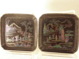 Two Chinese Lacquer Lac Burgaute Dishes 19th Century photo