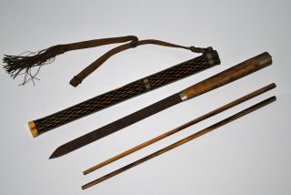 Antique Chinese Carved Hard Wood Ox Bone Inlaid Travel Set Chopsticks 19th Qing photo