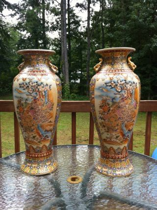 Two Huge Chinese Oriental Gorgeous Porcelain Palace Ground Floor Vases photo