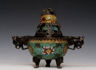 Chinese 18th C Bronze Enamel Censer Insence Burner With Cover Marked Exp16 photo