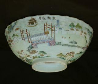 Vf 19/c Chinese Famille Rose Porcelain Landscape Bowl Poem Daoguang Mark Period photo