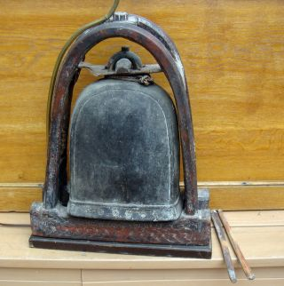 Very Old Antique Asian Chinese Tibet Bronze Wood Bell On Hand Carved Wood Stand photo