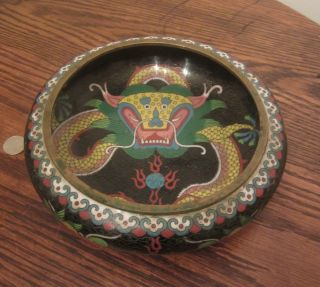 Antique Handmad Early Asian Chinese Cloisonne Brass Dragon Enamel Bowl Vase Old photo