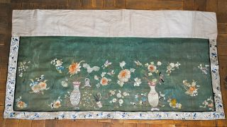 Antique Chinese Green Silk Embroidered Hanging Panel Flowers Embroidery Qing 19c photo
