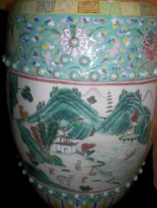 Very Fine Chinese Famille Rose Garden Seat Stool Ca 19th C Figures In Landscape photo