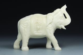 Chinese Handwork Carving Elephant Old Bone Statue photo