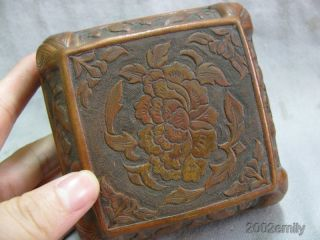 Traditional Chinese Copper Carved Flower Pattern Case / Box photo
