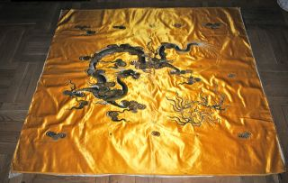 Antique Chinese Yellow Silk Embroidered Wall Hanging Panel Dragon Embroidery photo
