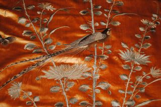 Antique Chinese Silk Embroidered Wall Hanging Panel Paradise Birds Embroidery photo