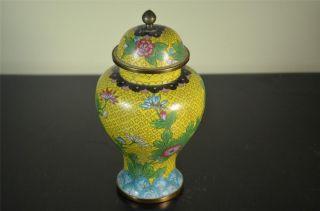 Chinese Yellow Bronze Cloisonne Vase W/ Lid 20th Century photo