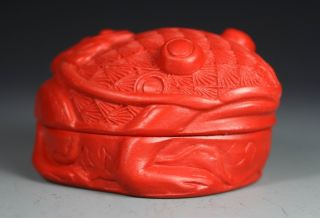 Chinese Handwork Carving Frog Old Lacquer Box photo